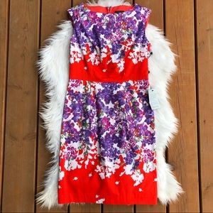 [Adriana Papell] NWT Floral Sleeveless Dress- 4P